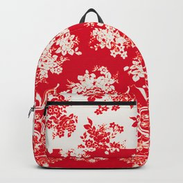 small bouquets in bright red with border Backpack