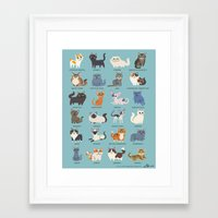 cats Framed Art Prints featuring Cats! by Doggie Drawings