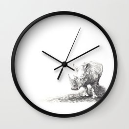 Rhino in Charcoal Wall Clock