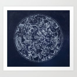 Vintage Constellations & Astrological Signs   White Art Print