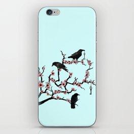 Ravens on cherry tree iPhone Skin