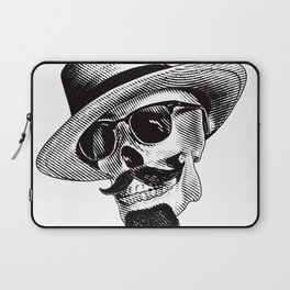 Hipster Skull in Black and White Laptop Sleeve