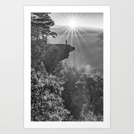 Sunrays Over Hawksbill Crag - Black and White Art Print
