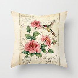 Vintage Roses Print Hummingbird Art Love Quote Rustic Decor Valentine Gift Throw Pillow