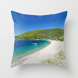 The beach Panormos of Skopelos island, Greece Throw Pillow