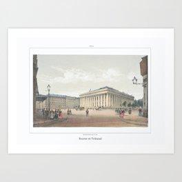 Paris art print Paris Decor office decoration vintage decor BOURSE et TRIBUNAL of Paris Art Print