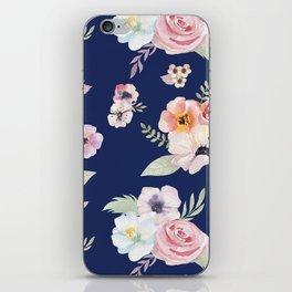 Floral I - Dark New Navy iPhone Skin