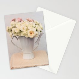 Pastel wedding roses in the pot - the day of Venus - flowers photography Stationery Cards