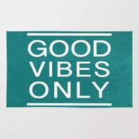 good vibes only Area & Throw Rugs featuring Good Vibes Only by Jenna Davis Designs