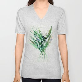 Lilies of the Valley. spring flowers, green white floral art Unisex V-Neck