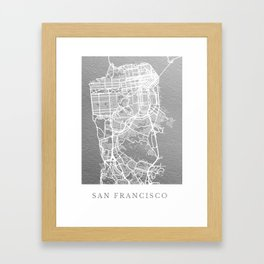 Silver San Francisco map Framed Art Print