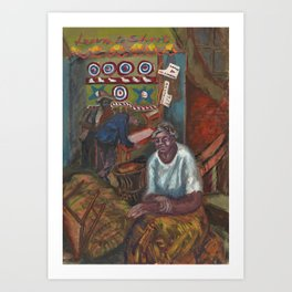 African American Masterpiece 'Learn to Shoot' Harlem portrat painting by Agnes Hart Art Print