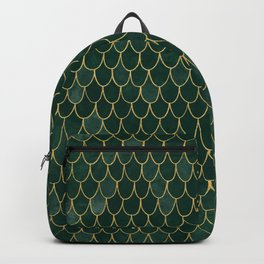 Mermaid Fin Pattern // Emerald Green Gold Glittery Scale Watercolor Bedspread Home Decor Backpack