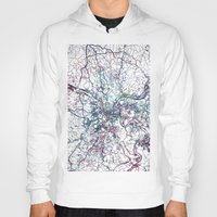pittsburgh Hoodies featuring Pittsburgh map by MapMapMaps.Watercolors