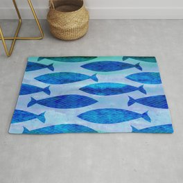 Blue Turquoise Green Watercolor Fish Pattern Rug