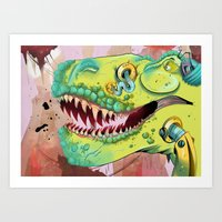 sci fi Art Prints featuring Sci-fi Dinosaur. by Rachel Alderson