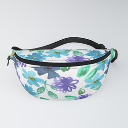 Watercolor cornflower, forget-me-not, rose green leaves Seamless pattern on white background Fanny Pack
