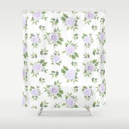 Botanical lavender white green watercolor floral Shower Curtain