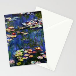 Water Lilies at Twilight impressionist painting by Claude Monet Stationery Cards