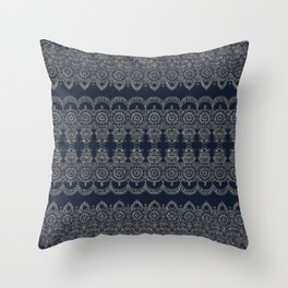 Silvery Striped Doodle Throw Pillow