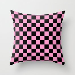 Pink and Black Check - more colors Throw Pillow