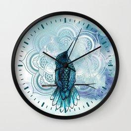 Aquarela hummingbird Wall Clock