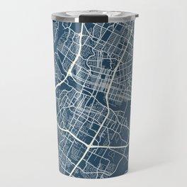 Austin Blueprint Street Map, Austin Colour Map Prints Travel Mug