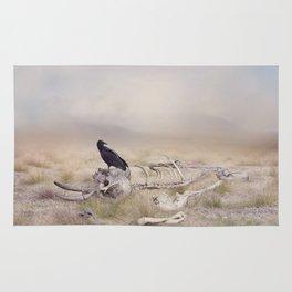 Black Vulture perches on Elephant Skeleton Rug