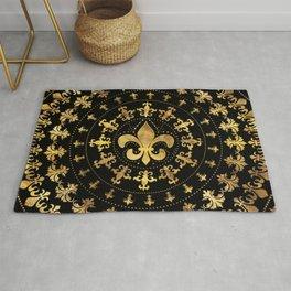 Fleur-de-lis - circular ornament - Gold and black Rug