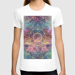 Gold watercolor and nebula mandala T-shirt