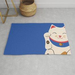 Blue Lucky Cat Maneki Neko Rug