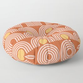 Geometric Lines in Rose Gold Terracotta (Sun and Rainbow Abstract) Floor Pillow