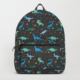 Dinosaurs in Space in Blue Backpack