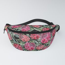 Protea flowers, watercolor botanical on black Fanny Pack