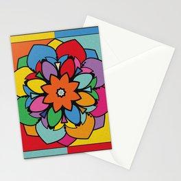 Happy Colorful Mandala Flower Illustration Stationery Cards