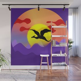Black winged dragon flying over the dark purple mountains against the red sky. Magical sunset landscape. Fantasy universe painting. Gorgeous fairy tale land. Wall Mural