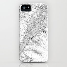 Vintage Map of Jersey City NJ (1967) BW iPhone Case