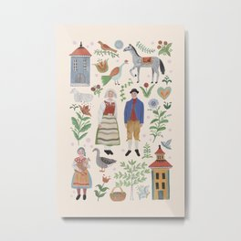 Swedish Folk Art Metal Print