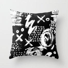 White chalk brush on black Throw Pillow