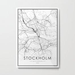 Stockholm City Map Sweden White and Black Metal Print