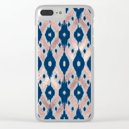 Artsy Modern Rose Gold Navy Blue Ikat Geo Clear iPhone Case