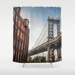 Historically Charged Manhattan Bridge East River New York City USA Clear Blue Sky UHD Shower Curtain