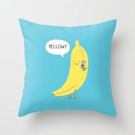 Banana on the phone Throw Pillow