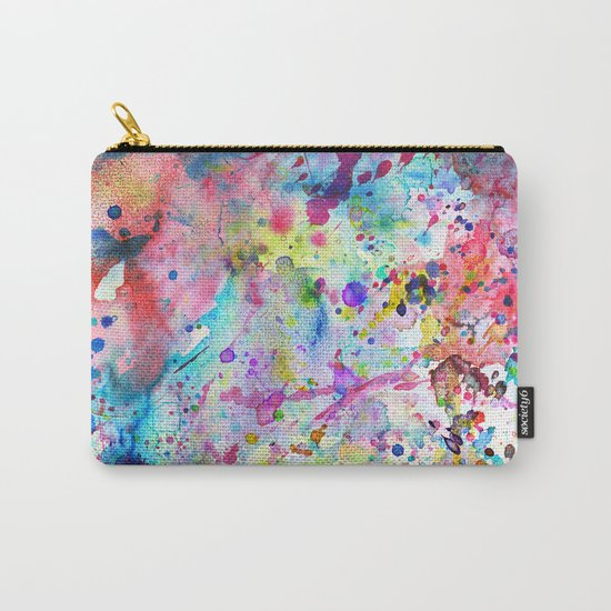 Abstract Bright Watercolor Paint Splatters Pattern Carry-All Pouch