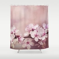 cherry blossom Shower Curtains featuring Cherry Blossom by LebensART Photography