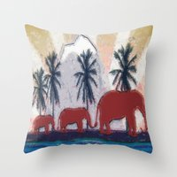 elephants Throw Pillows featuring Elephants by LoRo  Art & Pictures