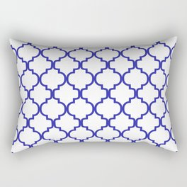 Moroccan Trellis (Navy Blue & White Pattern) Rectangular Pillow