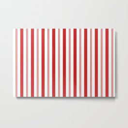 Red and White Candy Cane Stripes Thick and Thin Vertical Lines, Festive Christmas Metal Print