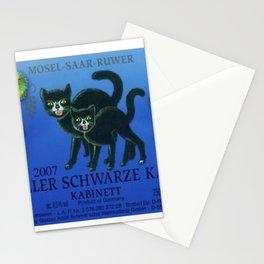 Vintage Autumn Leaves Zeller Riesling Cats Wine Bottle Label Print Stationery Cards