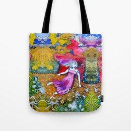 Girl in colorful  Tote Bag